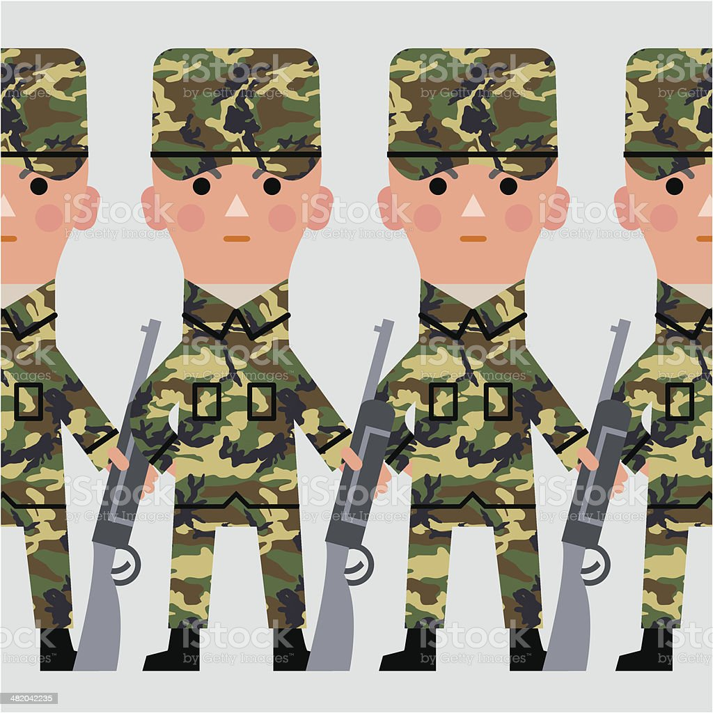 Repeating wall of soldiers royalty-free stock vector art