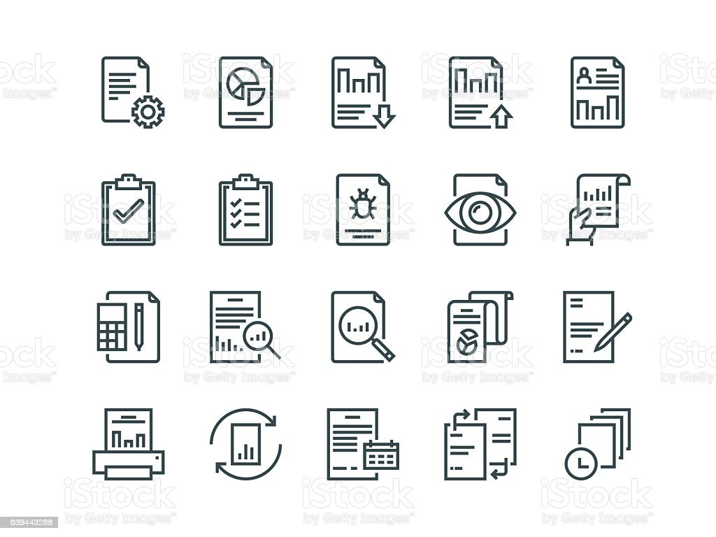 Report. Set of outline vector icons. Includes such as Auto vector art illustration