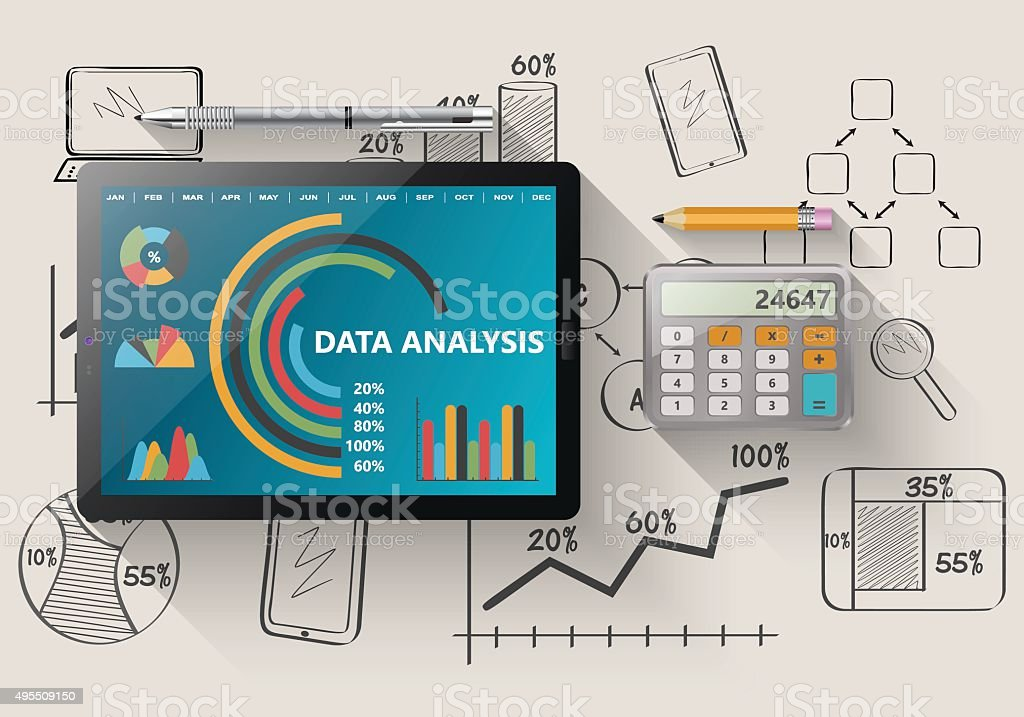 Report statistics concept vector art illustration