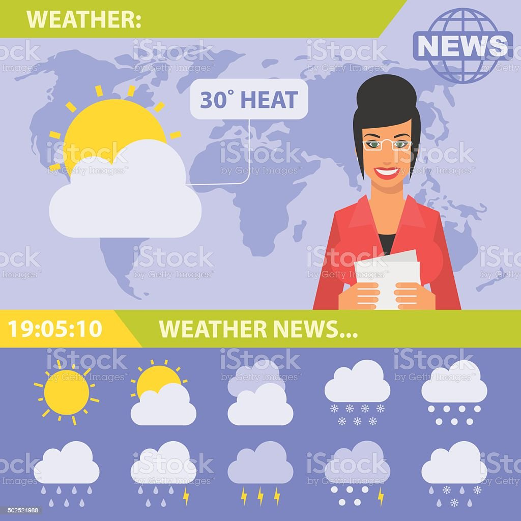 Reporter and news weather vector art illustration