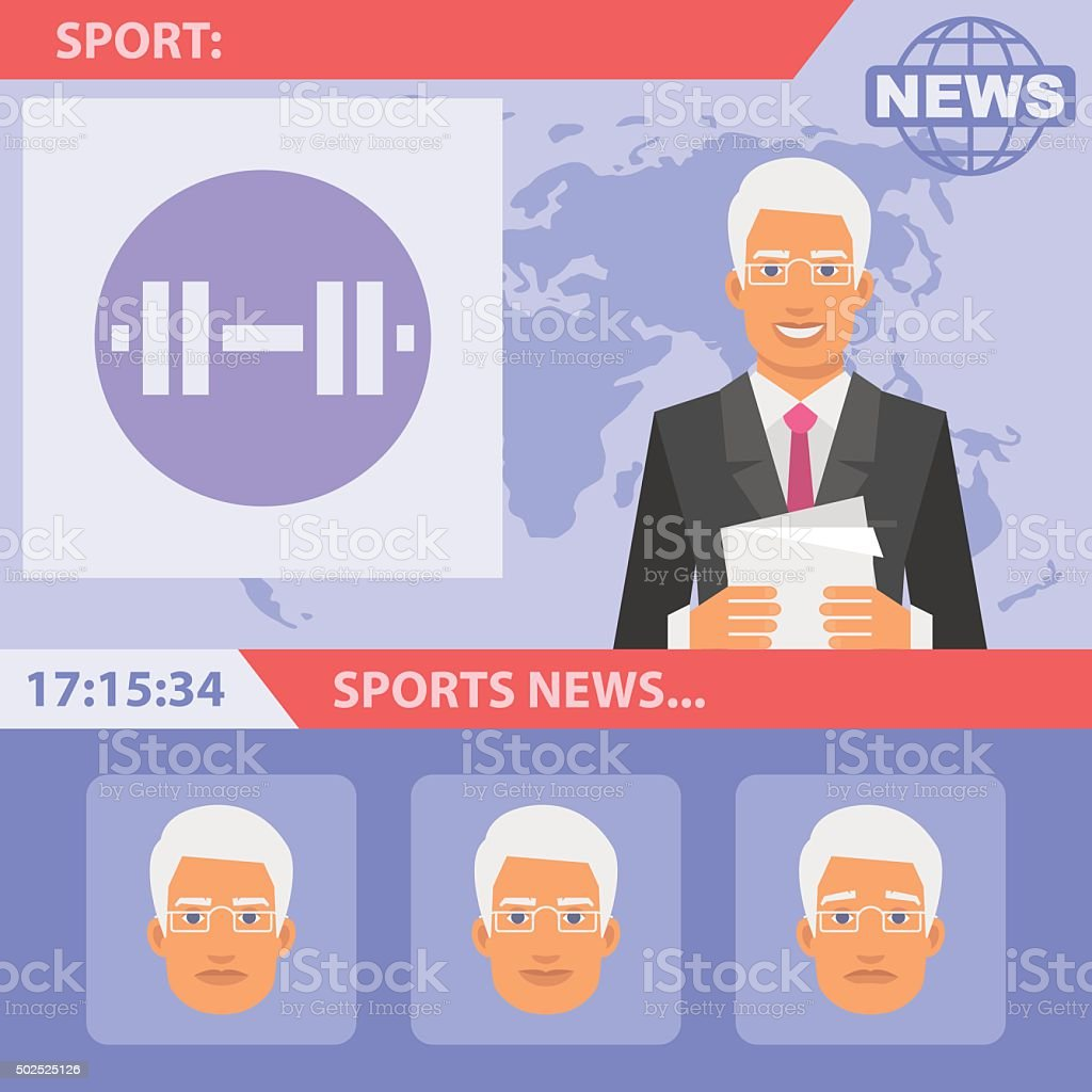 Reporter and sports news vector art illustration
