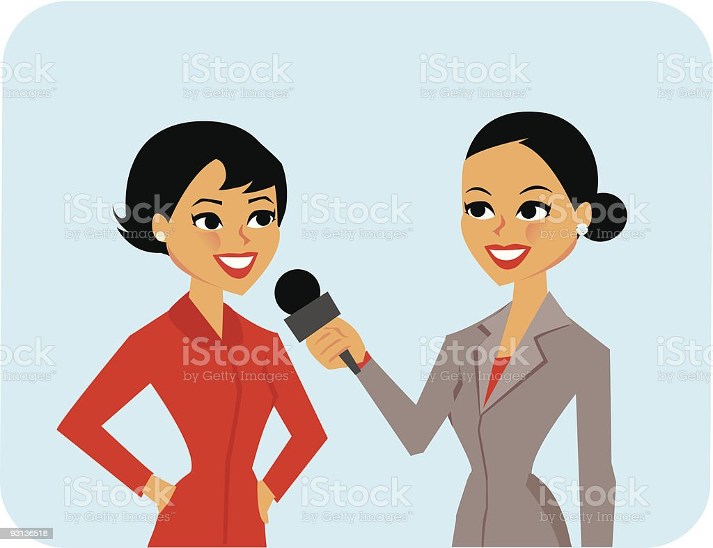 Reporter interviewing woman in red suit royalty-free stock vector art