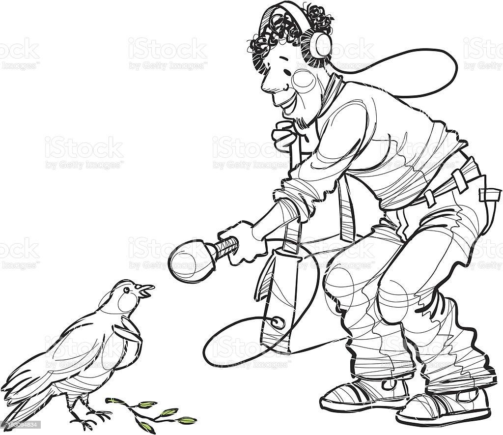 reporter interviews peace dove royalty-free stock vector art