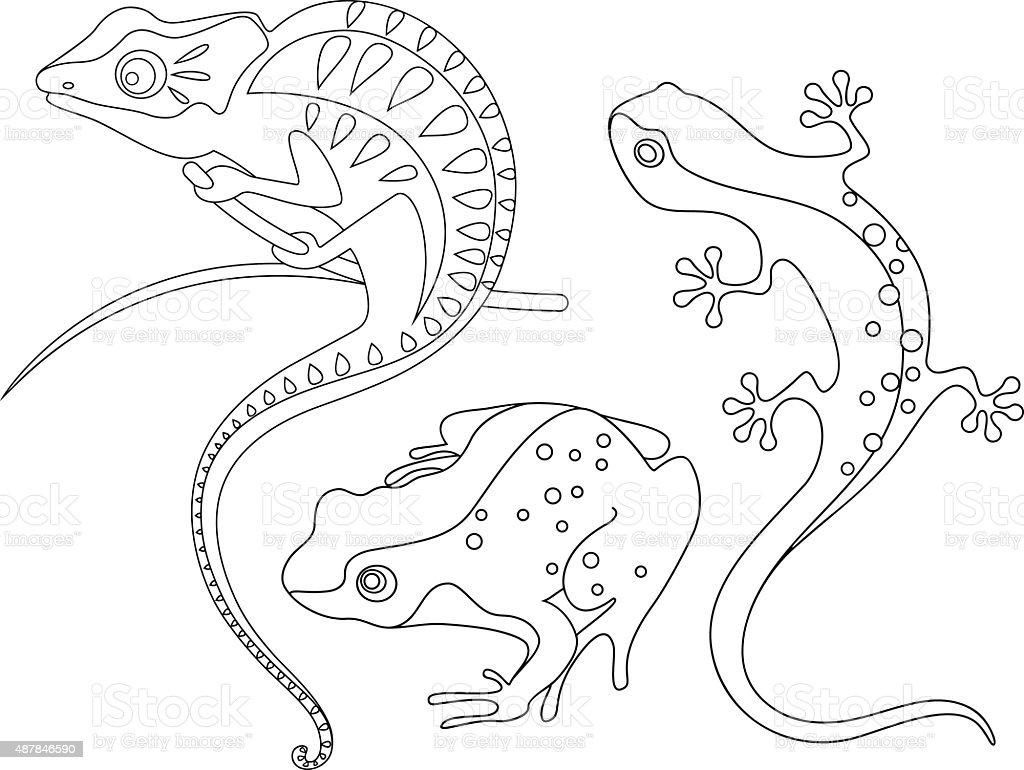reptiles vector art illustration