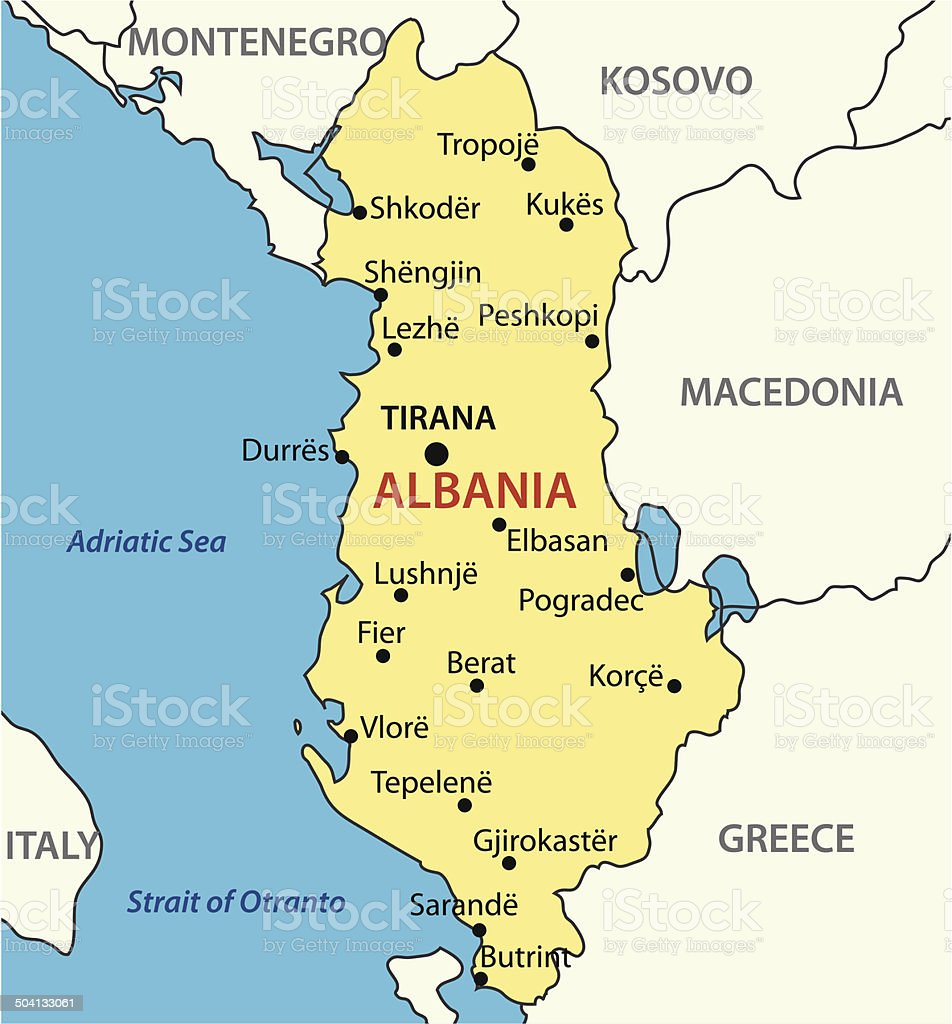 Republic of Albania - vector map royalty-free stock vector art