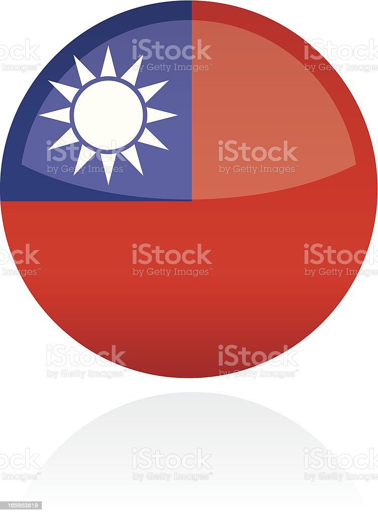Republic of China, Asia Flag Button royalty-free stock vector art