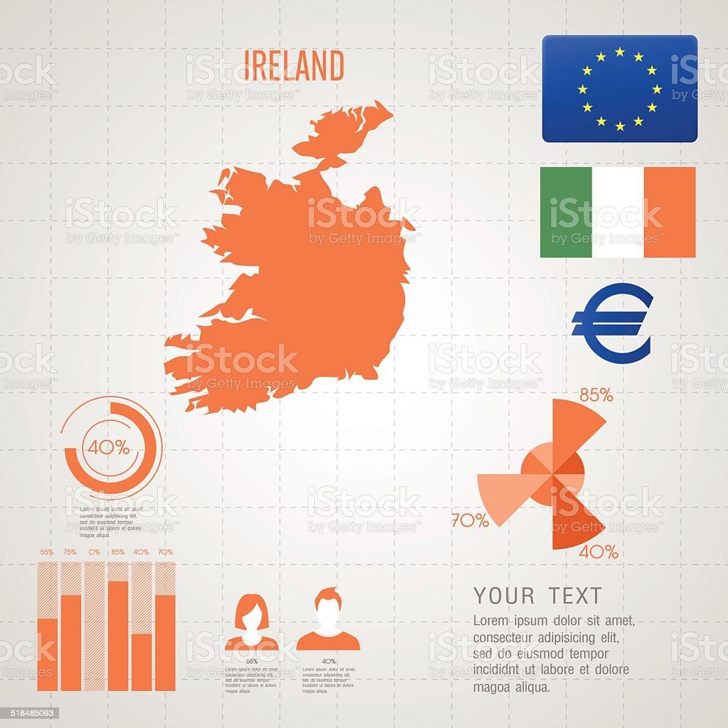 Republic of IRELAND map. vector art illustration