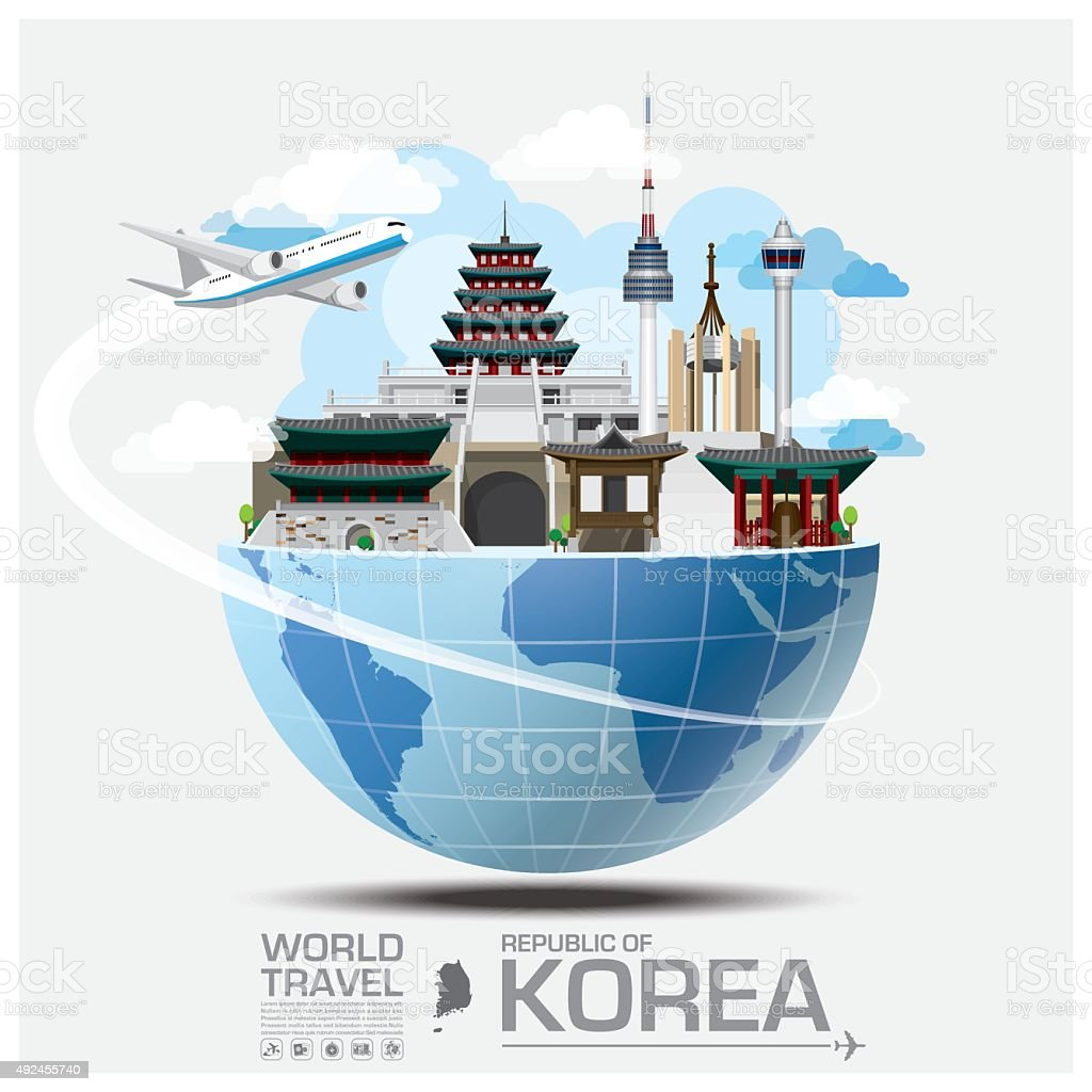 Republic Of Korea Landmark Global Travel And Journey Infographic vector art illustration
