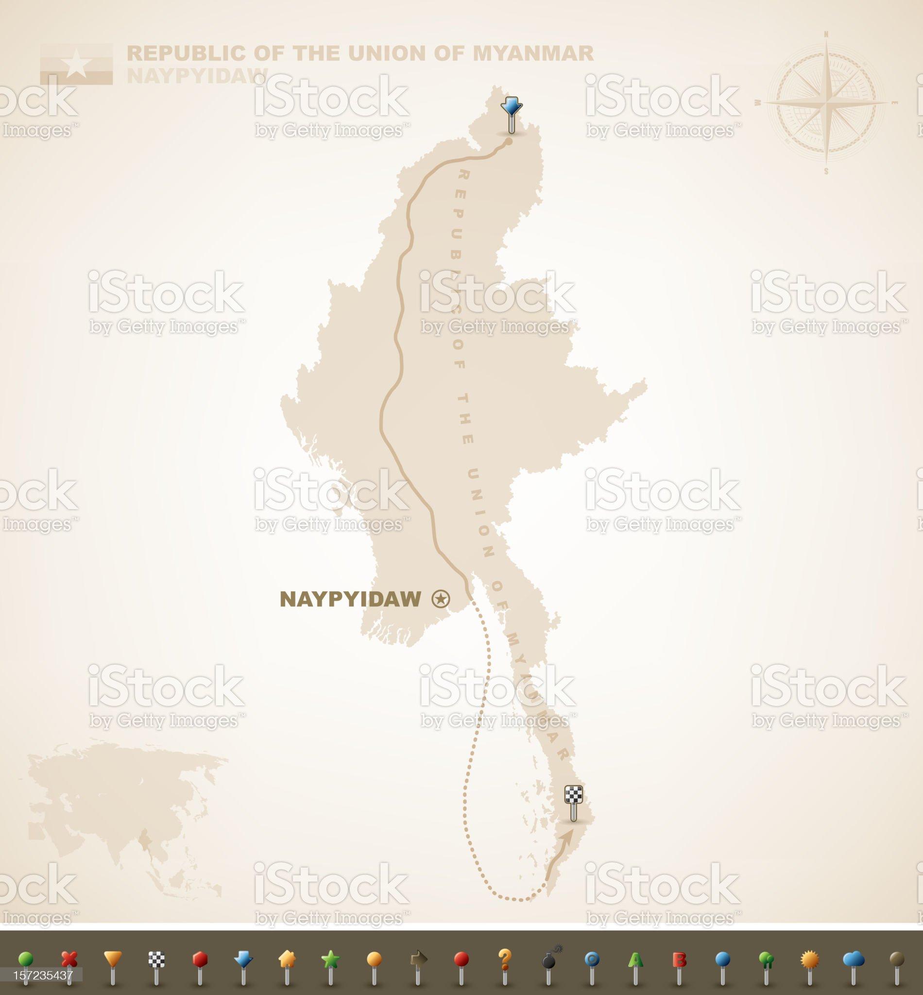 Republic of Myanmar royalty-free stock vector art