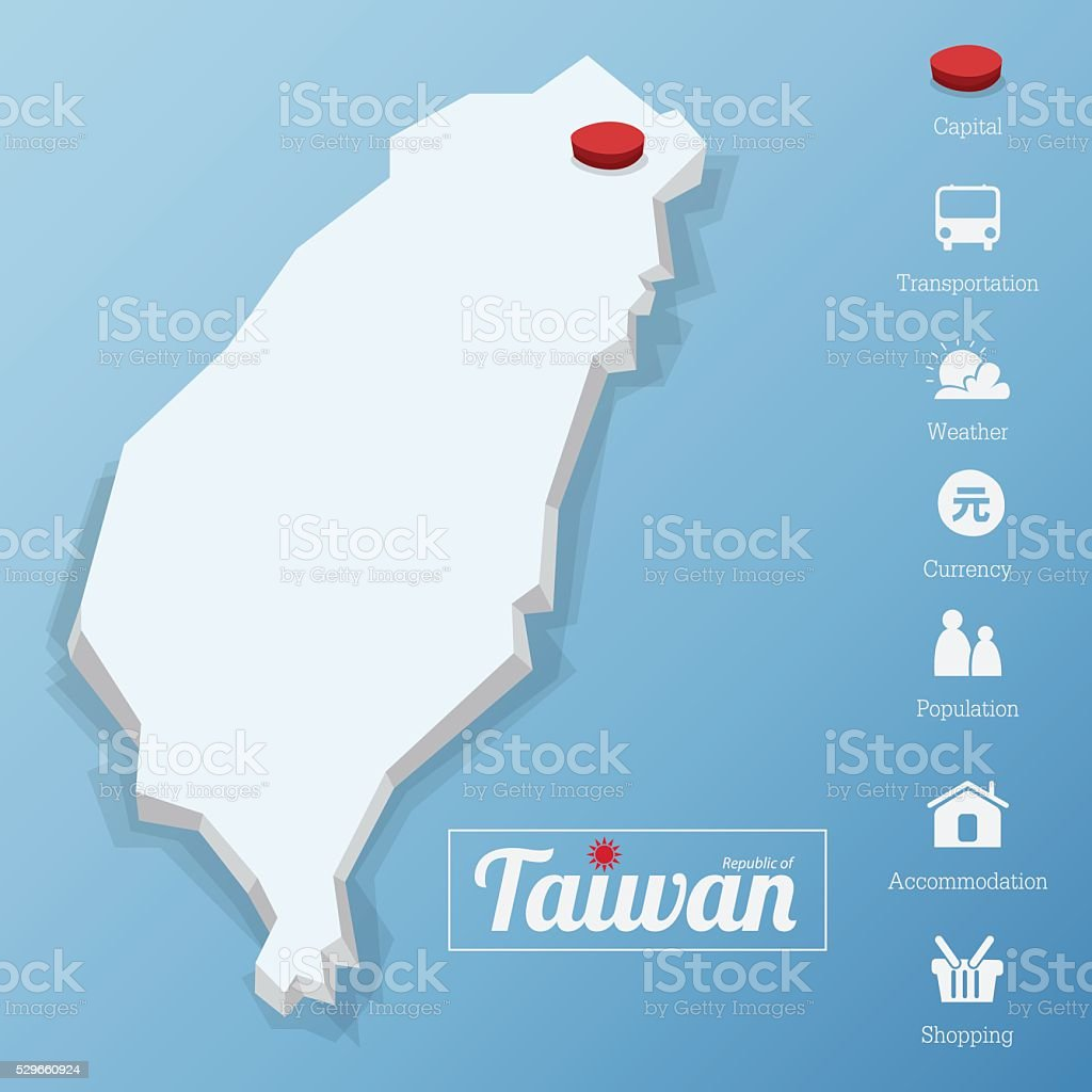 Republic of Taiwan map. Tourism icon in flat design. vector art illustration
