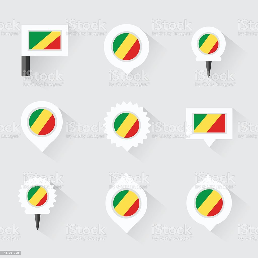 republic of the congo flag and pins for infographic, vector art illustration
