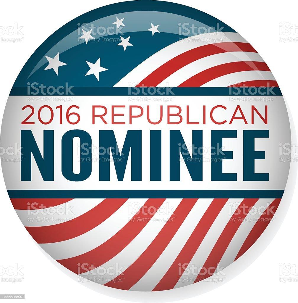 2016 Republican Nominee Campaign Button vector art illustration
