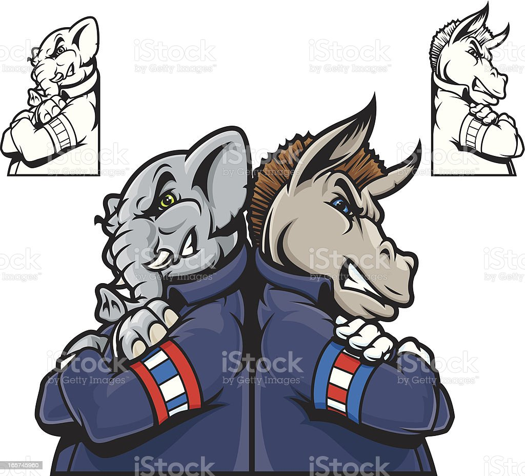 Republicans vs. Democrats vector art illustration