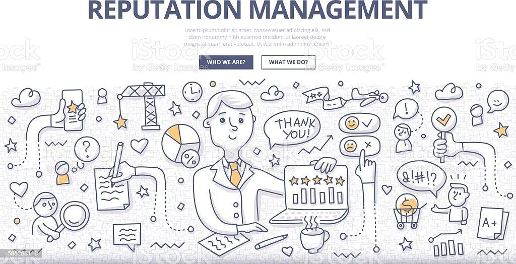 Reputation Management Doodle Concept vector art illustration