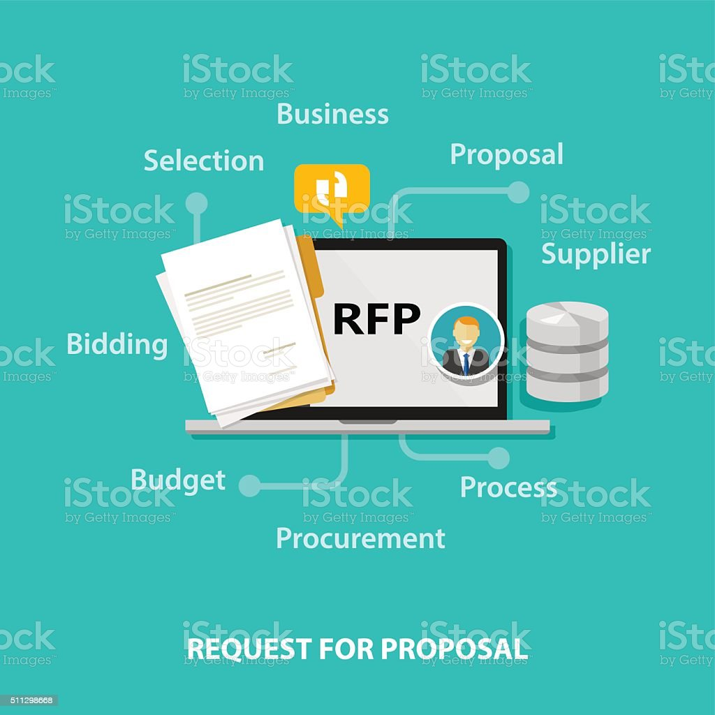 RFP request for proposal icon illustration vector bidding procurement process vector art illustration