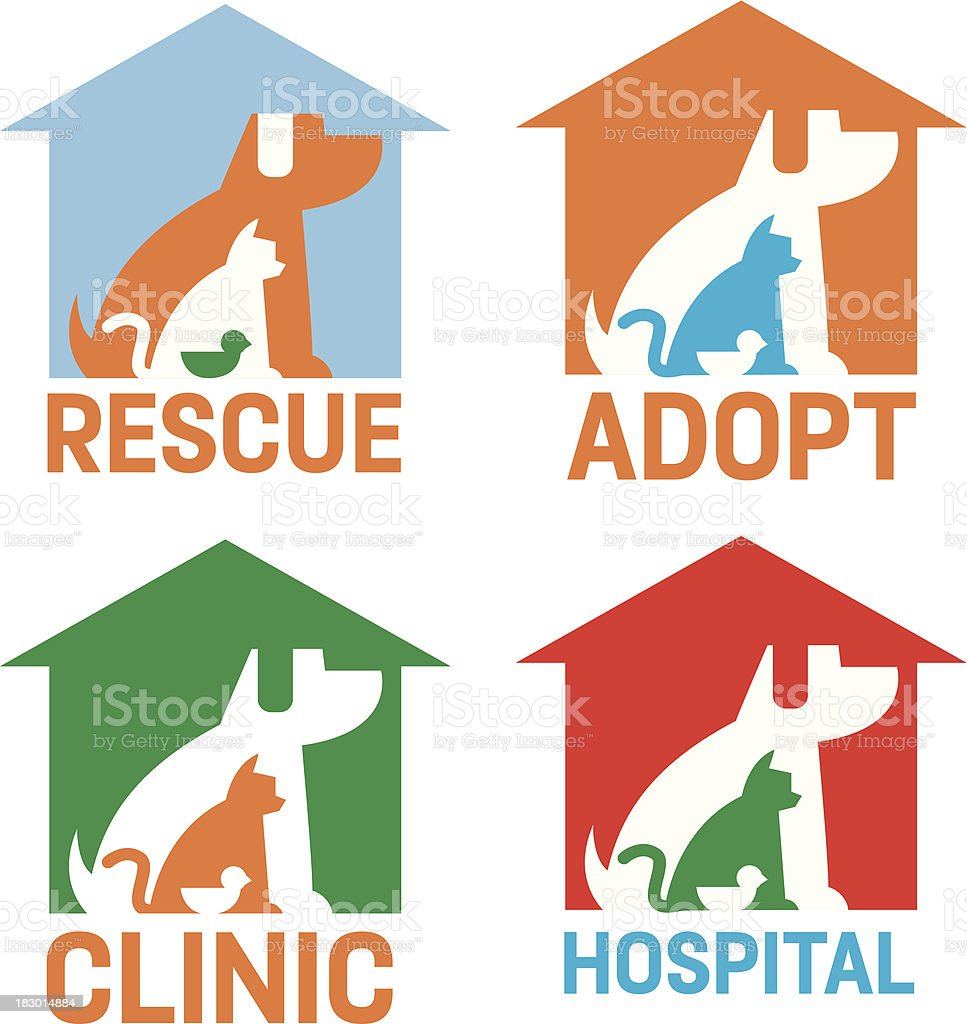 Rescue Adopt Clinic Hospital Pets Icons vector art illustration