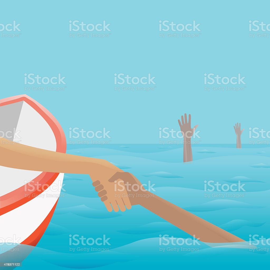 Rescue of Drowning vector art illustration