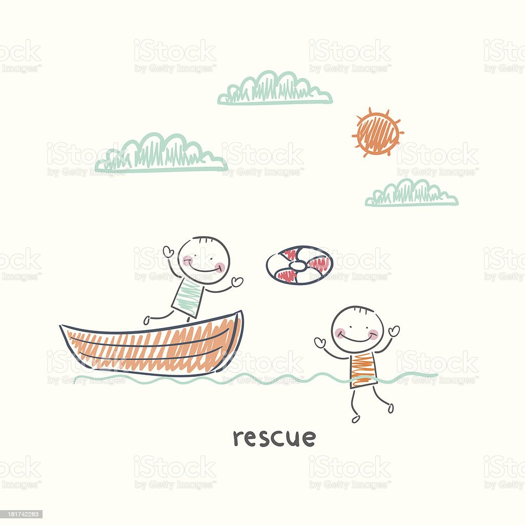 Rescuer royalty-free stock vector art