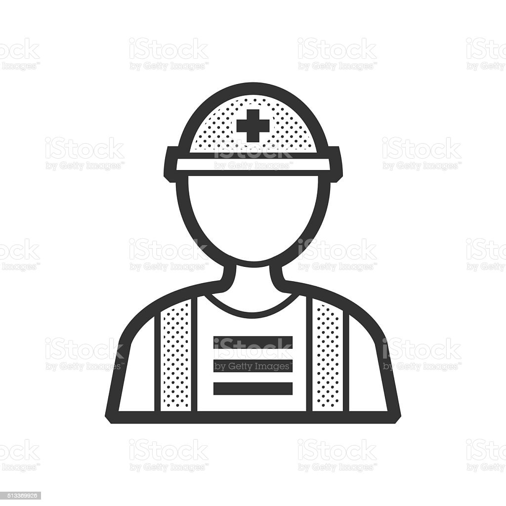 Rescuers, Medical avatar flat icon vector art illustration