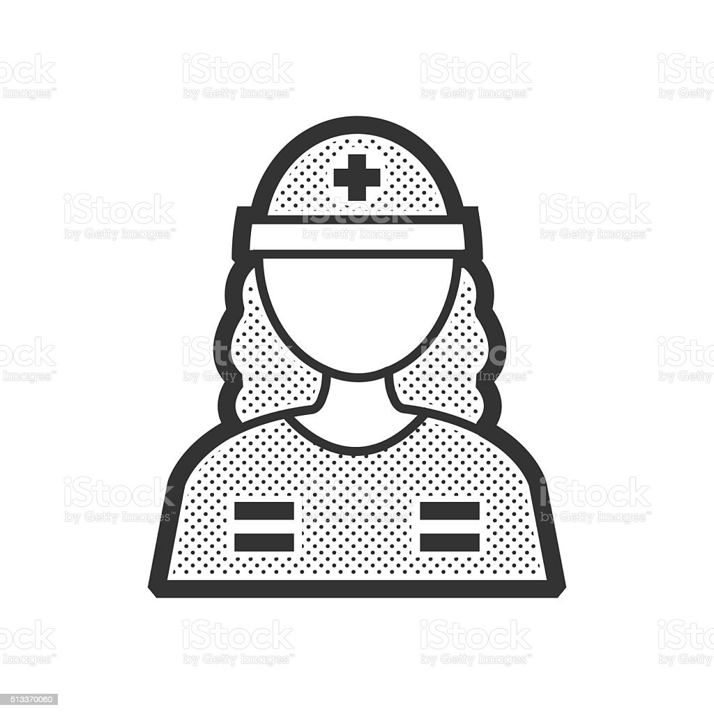 Rescuers, Medical avatar, woman icon vector art illustration