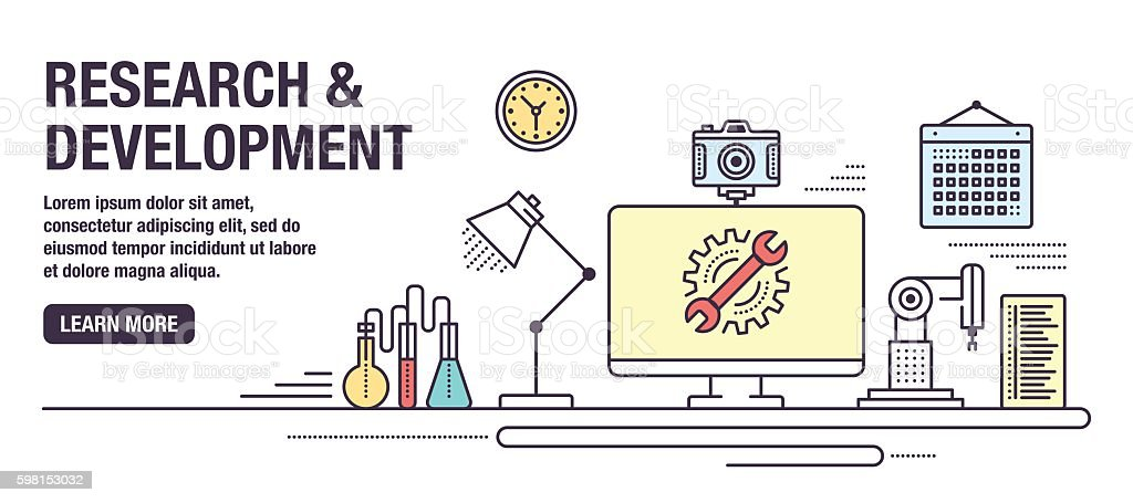 Research and Development vector art illustration