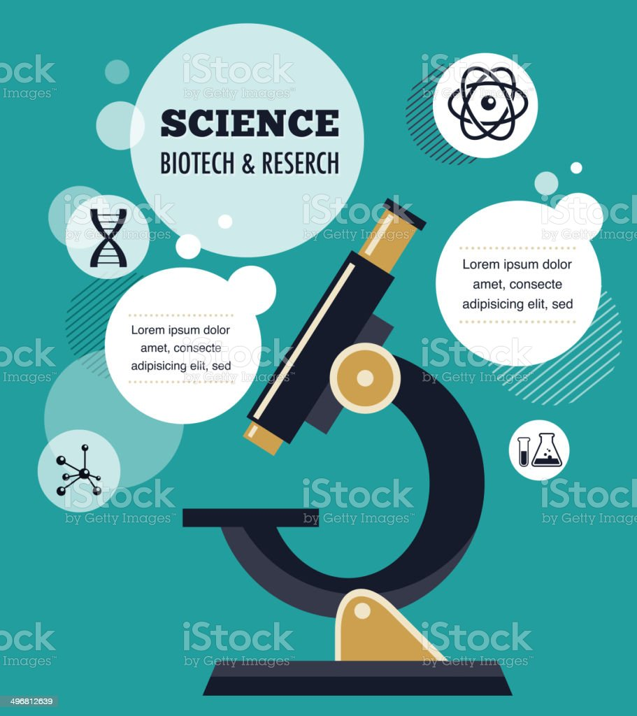 Research, Bio Technology and Science infographic royalty-free stock vector art