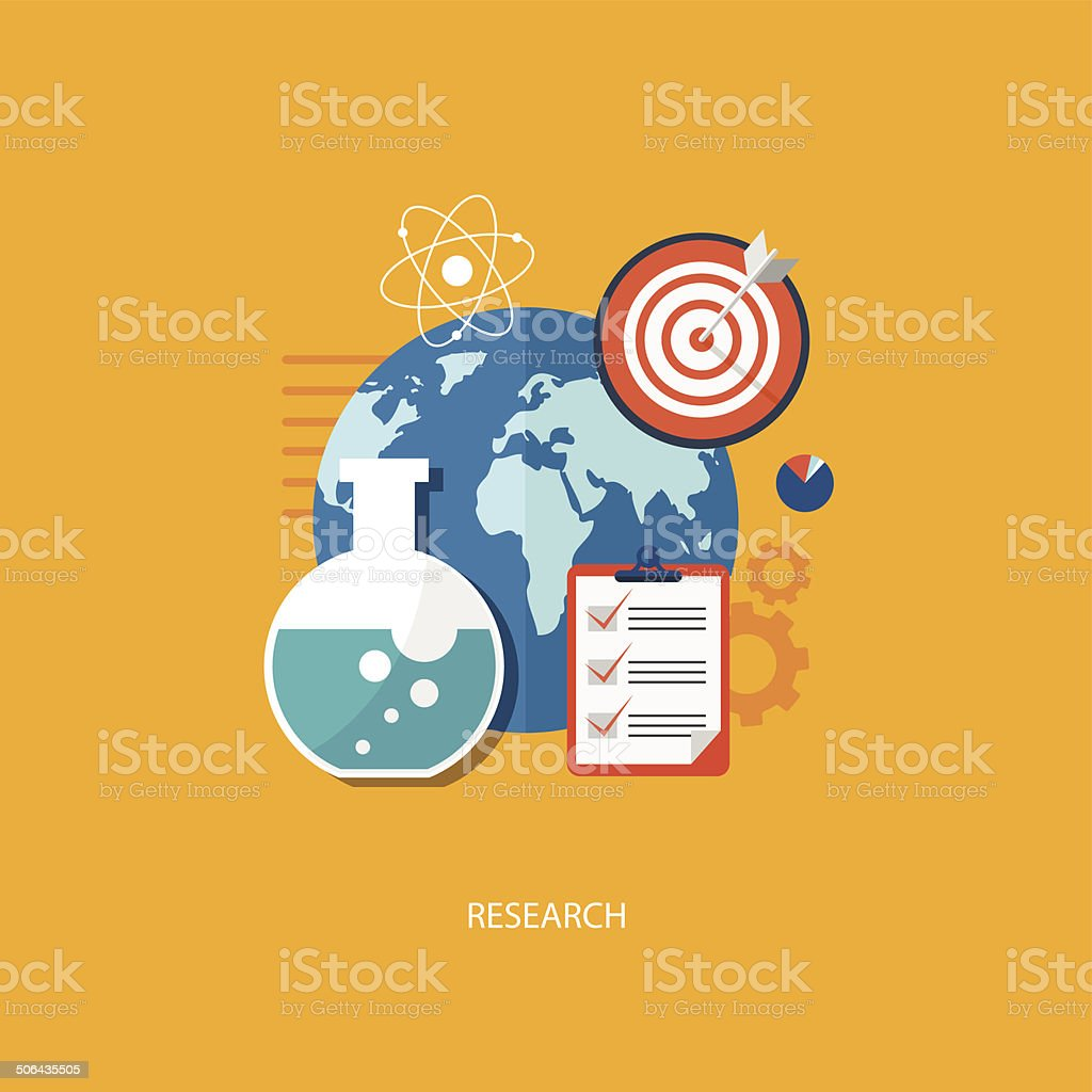Research concept flat illustration royalty-free stock vector art