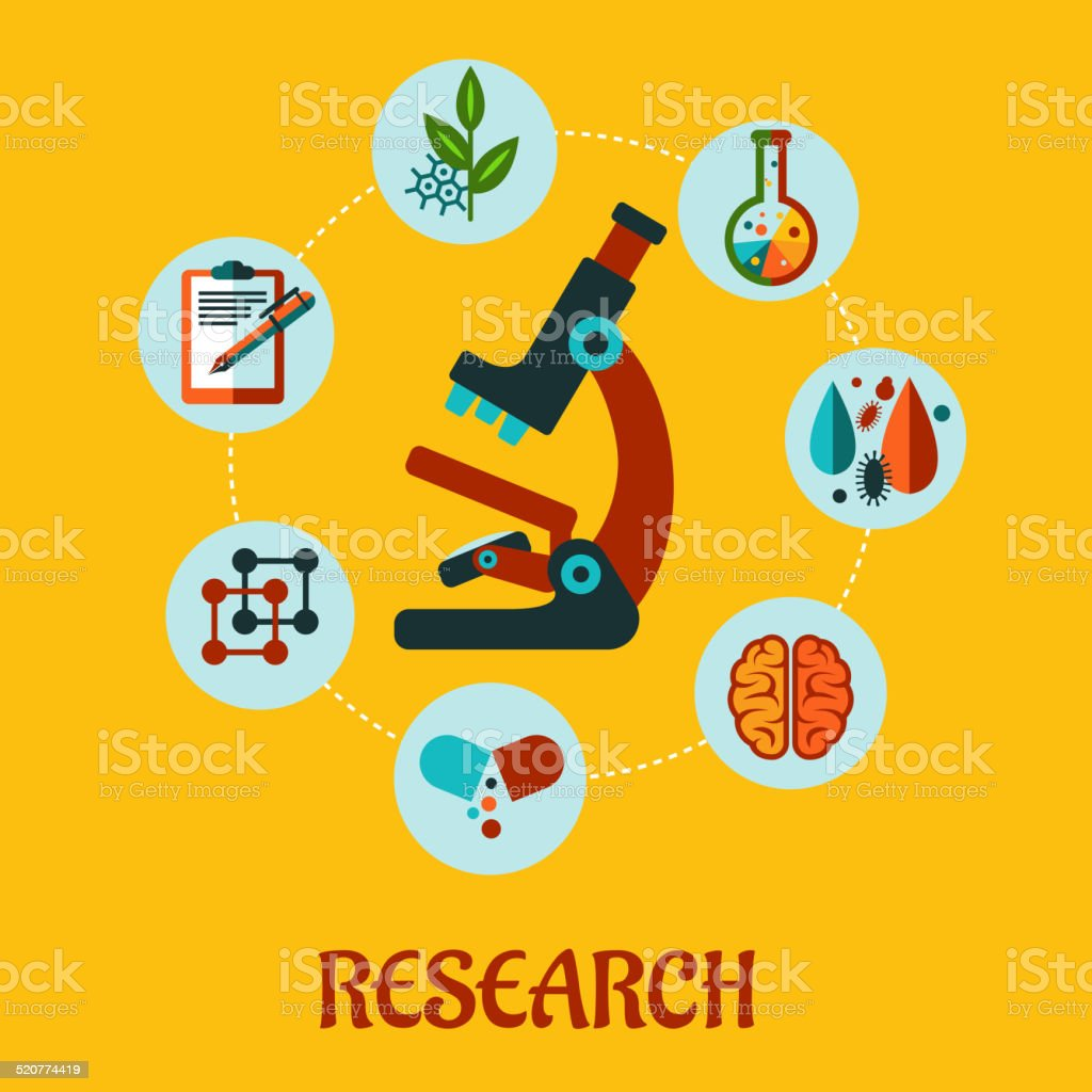 Research flat infographic vector art illustration