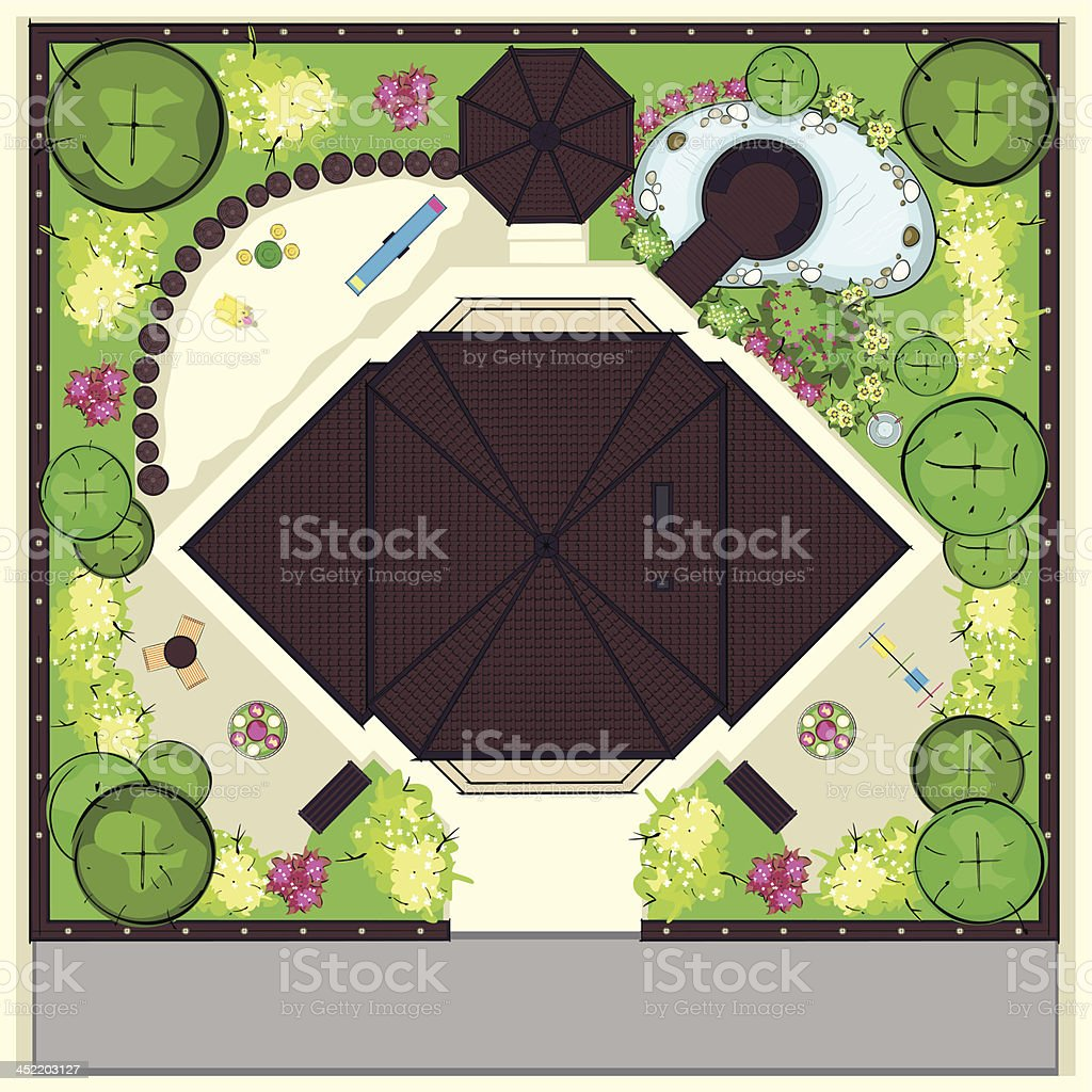 Resedental House Top plan with a beautiful garden royalty-free stock vector art