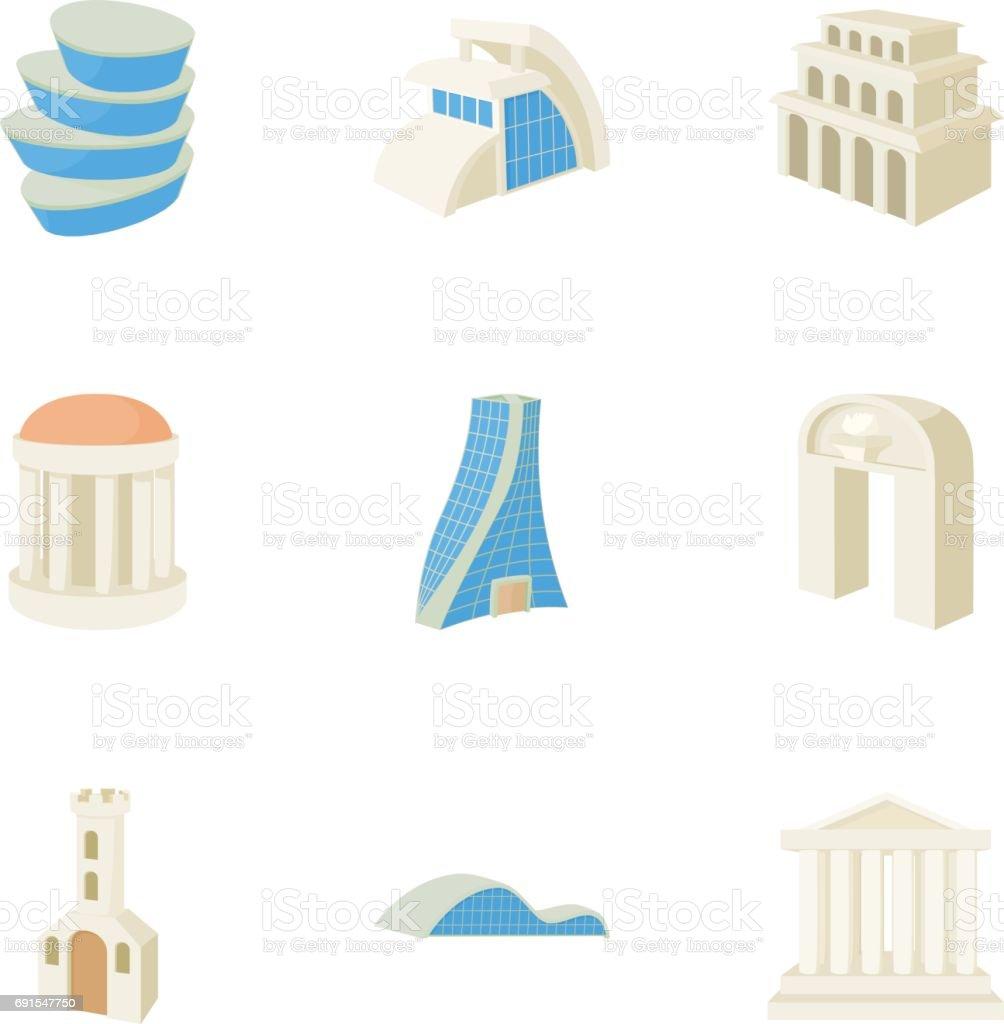 Residence icons set, cartoon style vector art illustration