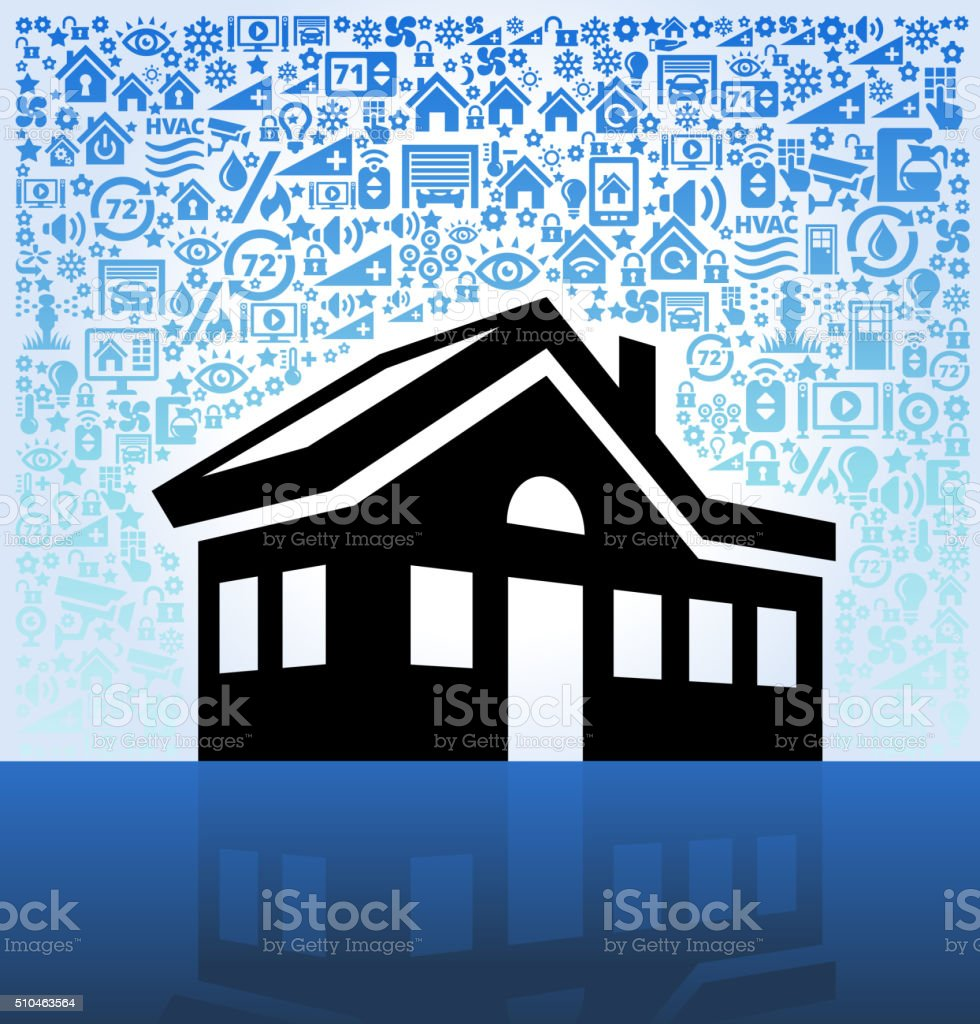 Residencial House on Home Automation and Security Vector Background vector art illustration