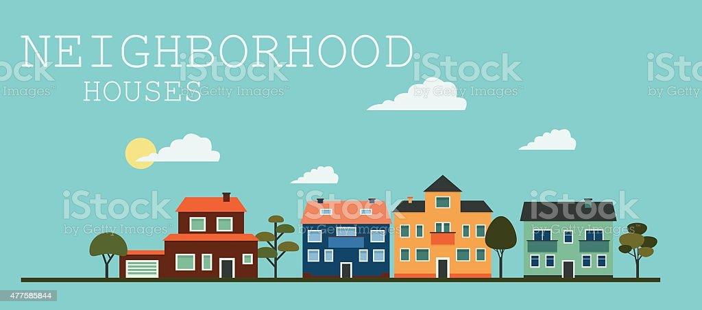 Residental Houses Neighborhood - Illustration vector art illustration