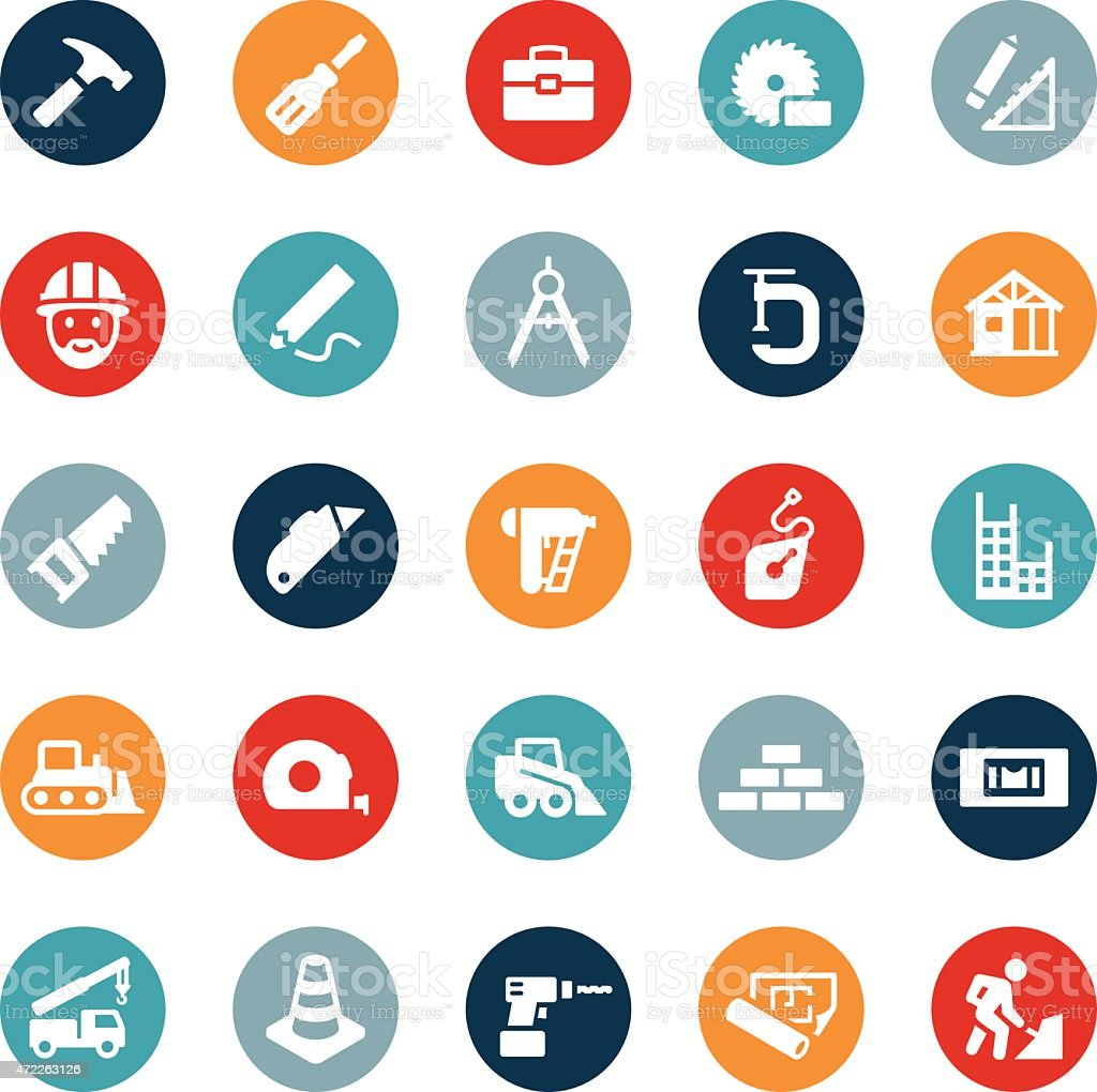 Residential And Commercial Construction Icons vector art illustration