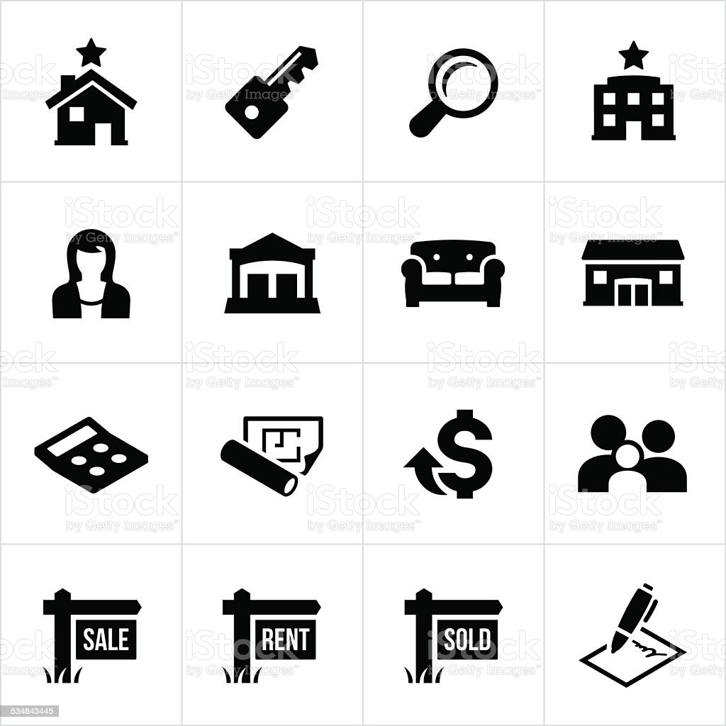 Residential and Commercial Real Estate Icons vector art illustration