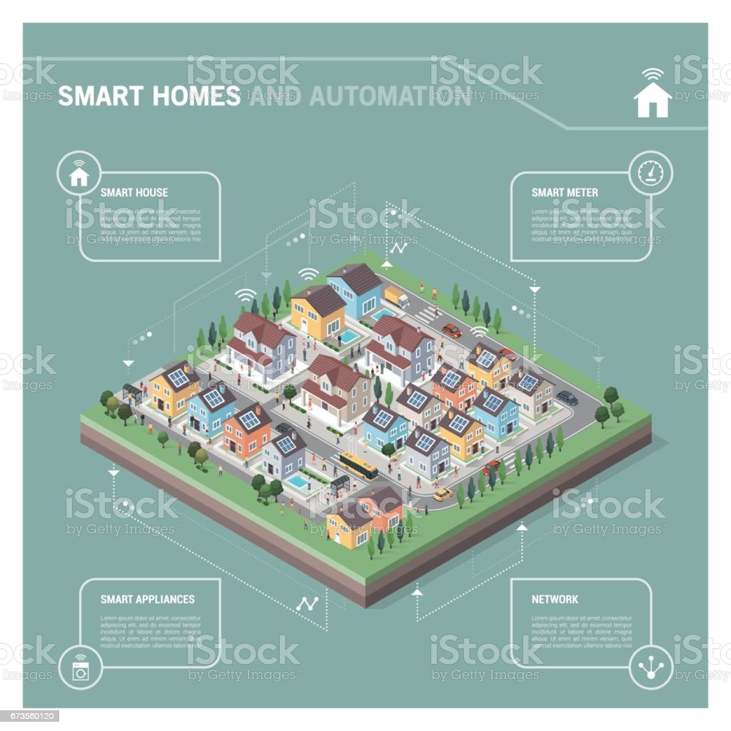 Residential area isometric infographic vector art illustration
