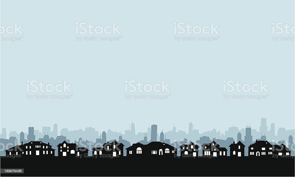 Residential Area Skyline vector art illustration