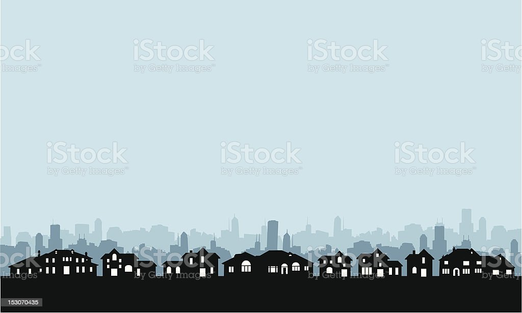 Residential Area Skyline vector art illustration
