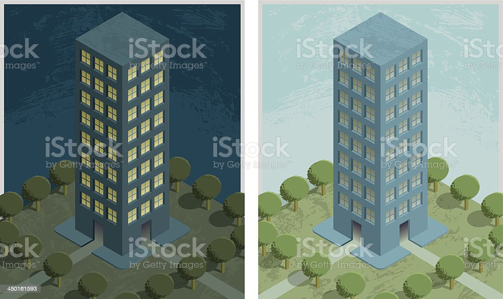 Residential building_night and day royalty-free stock vector art