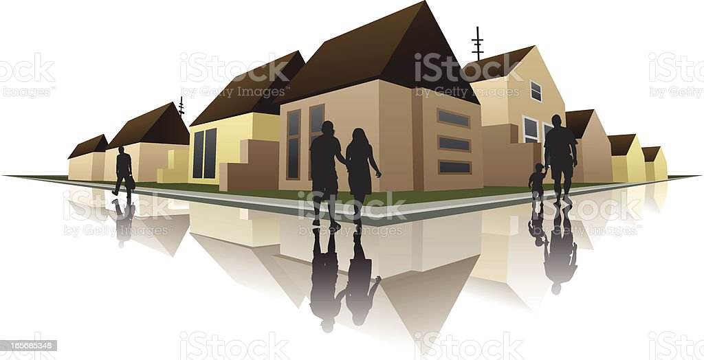 Residential buildings in a city royalty-free stock vector art