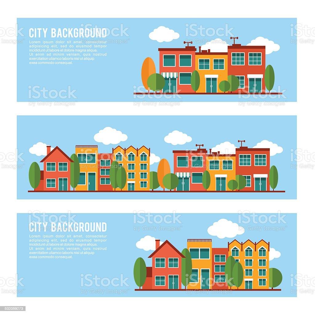 Residential city houses backgrounds banner set vector art illustration