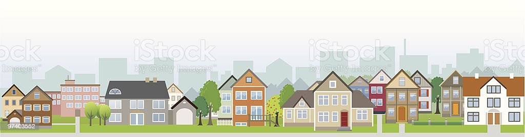 Residential District Neighbour with Houses on Street vector art illustration