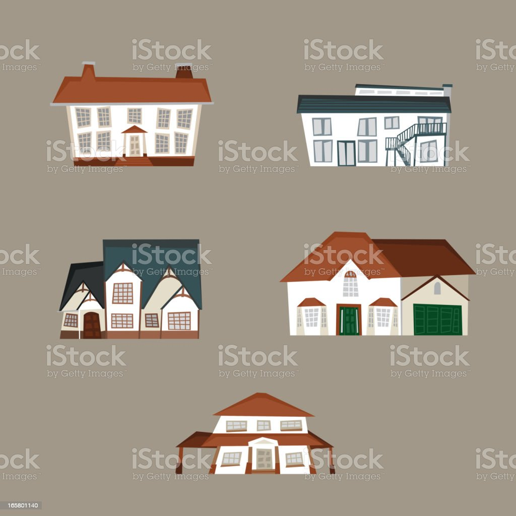Residential farmhouse cottage condominium duplex house houses royalty-free stock vector art