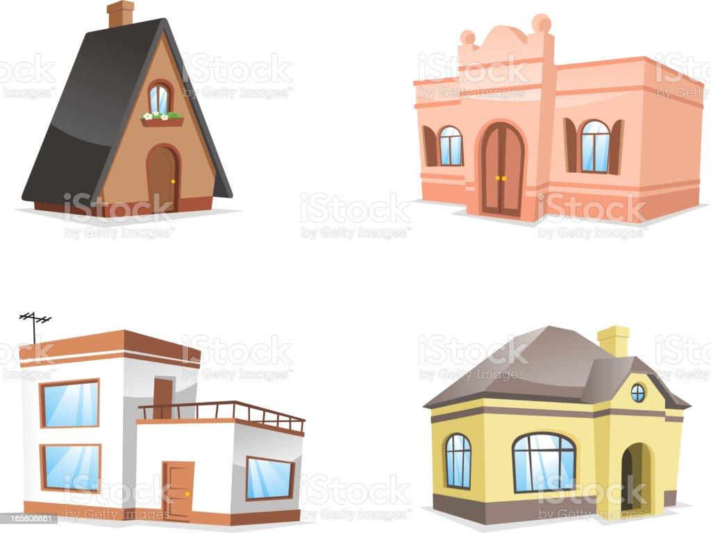 Residential hotel inn pension farmhouse roof tile house set royalty-free stock vector art