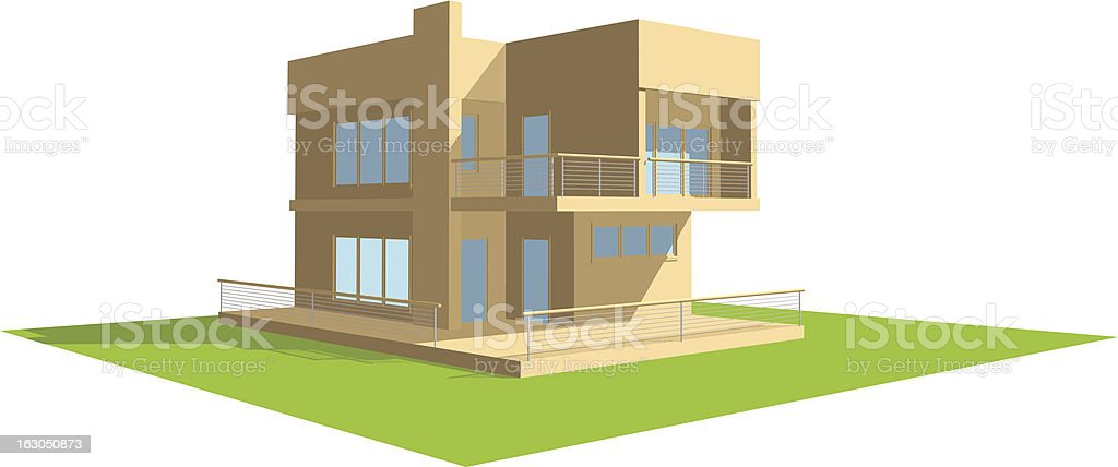 3D residential house perspective royalty-free stock vector art