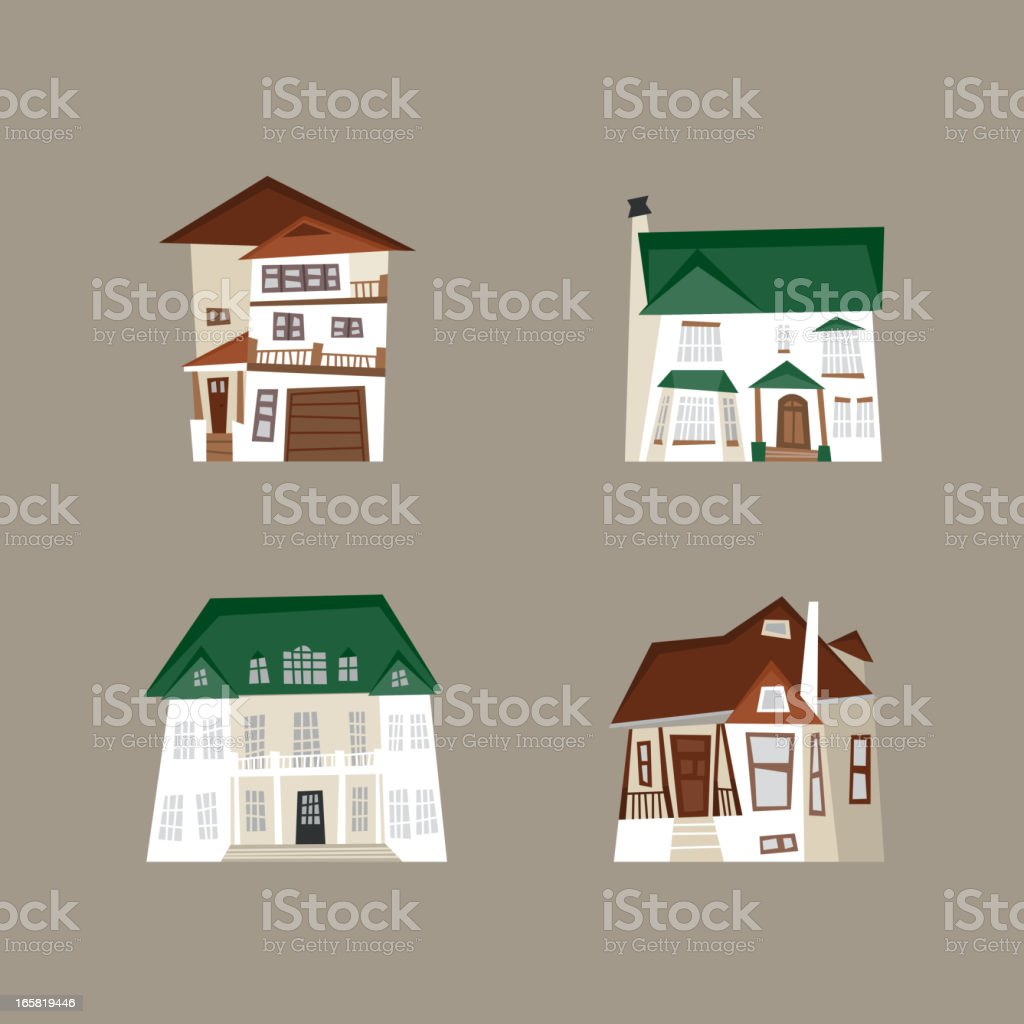 Residential mansion construction houses condo home vector art illustration