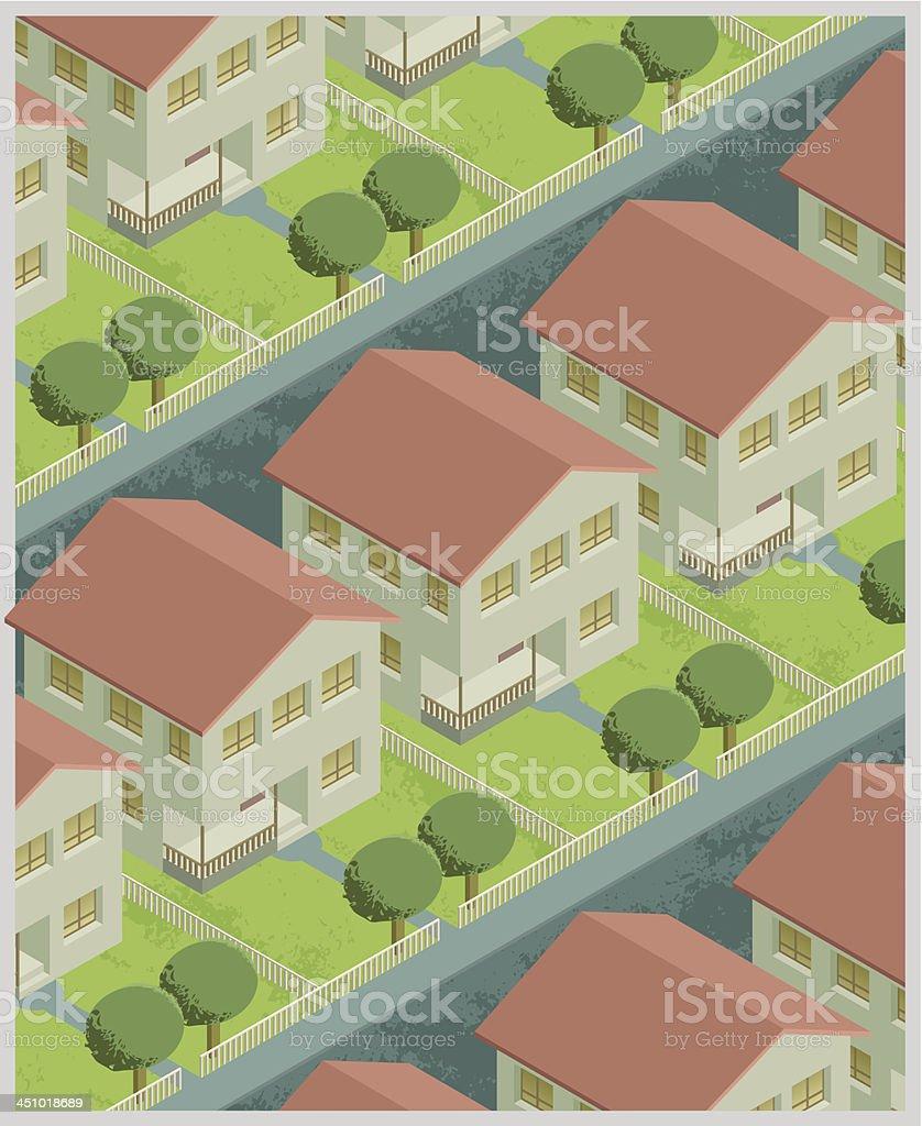 Residential Neighborhood royalty-free stock vector art