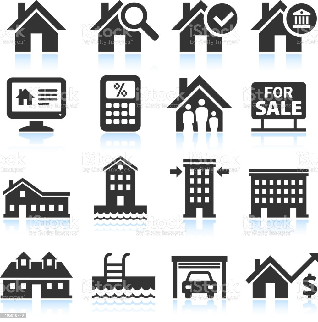 Residential real estate black and white icon set vector art illustration