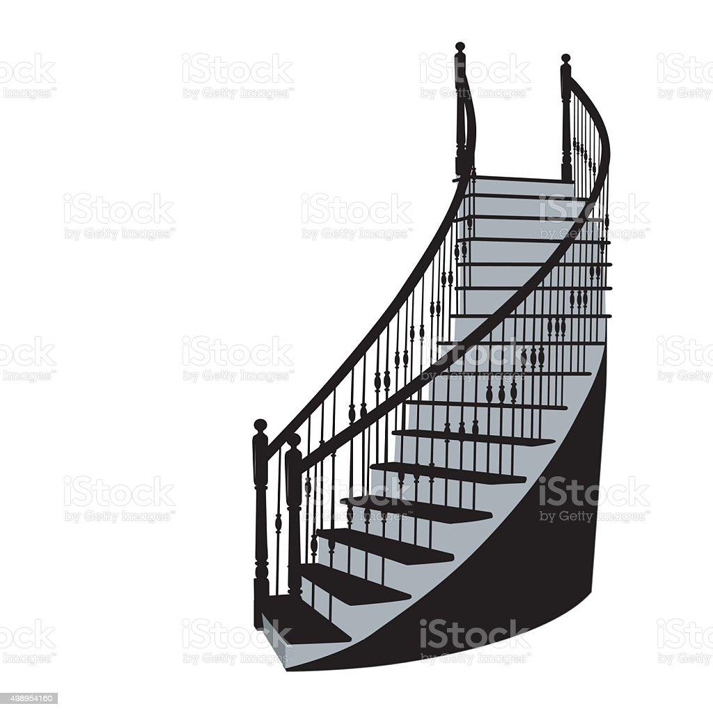 Residential Staircase vector art illustration
