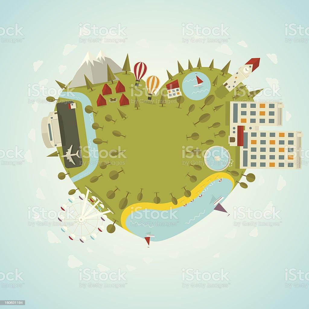 Resort planet in shape of heart royalty-free stock vector art