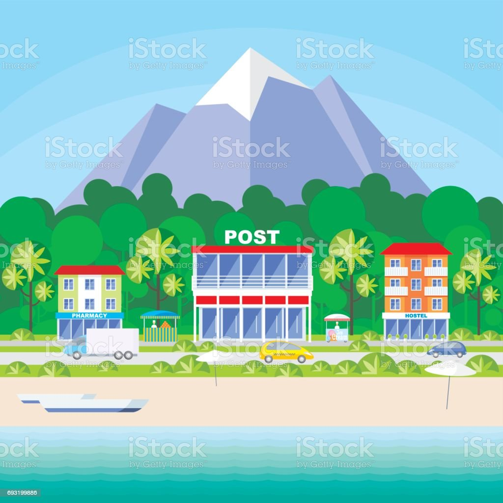 resort small town vector art illustration